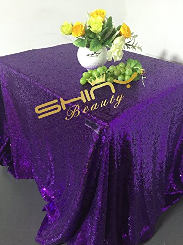 - ShinyBeauty 50x50Inch Square Purple Sequin Tablecloth,50x50Inch Tablecloth Perfert for Birthday,for Party,for Wedding