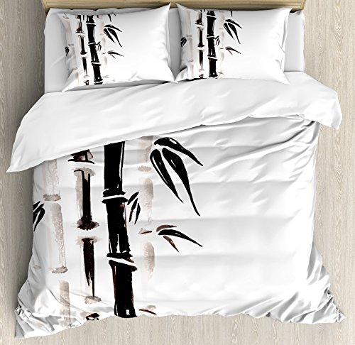 Bamboo Set Bedroom Bedroom (Ambesonne Bamboo Duvet Cover Set King Size, Bamboo Pattern in Traditional Chinese Watercolor Painting Style Asian Art Print, Decorative 3 Piece Bedding Set with 2 Pillow Shams, Black Cream)
