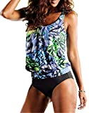 Happy Sailed Women Two Piece Pattern Printed Tankini Swimsuit Bathing Suit, Small Green