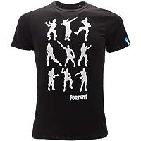Epic Games T-Shirt Originale Fortnite Bambino Ragazzo Dance Danza Posizioni movimenti Maglia Nera Maglietta