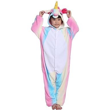 Pijama Unicornio Pijama Animal Invierno Entero de Franela Unisex Pijama Mono Animal Disfraz Navidad para Niños