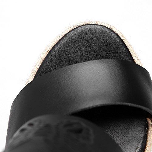 Amoonyfashion Donna Materiale Morbido Open Toe Fibbia Sandali Solidi Fibbia Nero