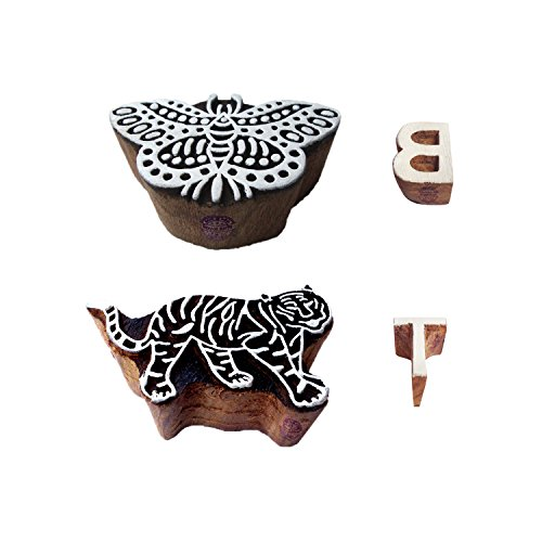 Learning Wood Blocks Handmade Butterfly Tiger Shape Printing Stamps (Set of - Print Block Butterfly