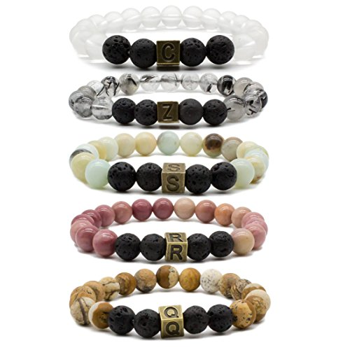 Bivei Lava Rock Stone Essential Oil Diffuser Bracelet - Natural Semi Precious Gemstone Beads Healing Crystal Bracelet (Custom Size) (Personalized Semi Precious Mothers Bracelet)
