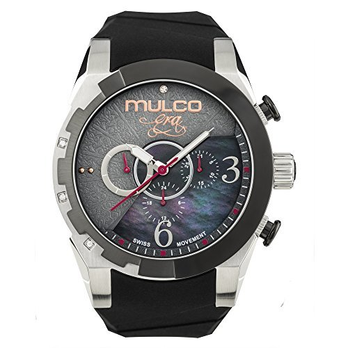 Mulco Era Bella Quartz Swiss Chronograph Movement Women's Watch | Mother of Pearl Sundial with Swarovski Accents | Black Watch Band | Water Resistant Stainless Steel Watch - Golf Sundial