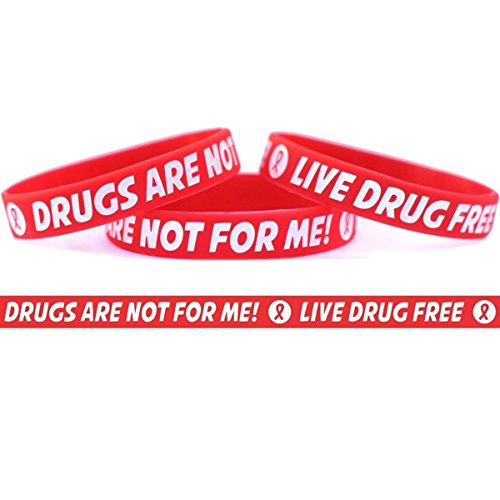 50 Child Size Live Drug Free Wristbands - Red Ribbon Week Bracelets