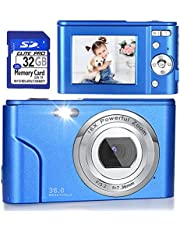 $53 » Digital Camera, FHD 1080P 36.0 MP Vlogging Camera Rechargeable Mini Camera Kids Camera Pocket Camera with 32GB SD Card 16X Digital Zoom, Compact Portable Camera for Kids Students Teenager-Blue