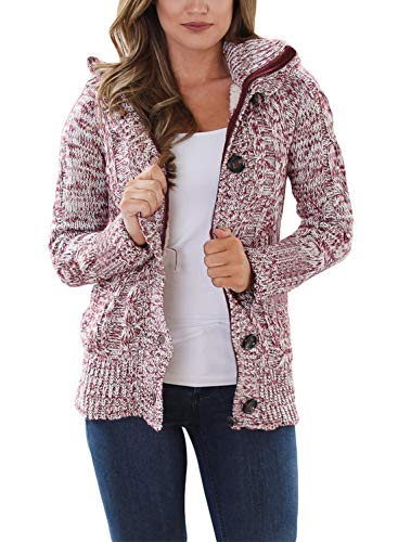 Astylish Women's Hooded Cable Knit Button Down Cardigan Fleece Sweater Coat Red Large