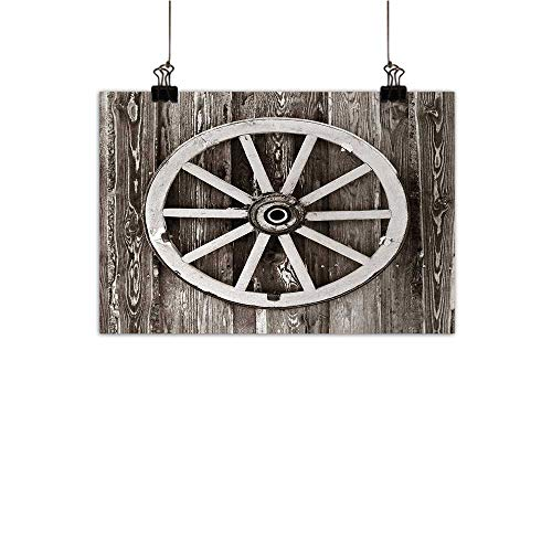 Anzhutwelve Barn Wood Wagon Wheel Art Oil Paintings Retro Wheel on Timber Wall Barn House Village Cart Circle Canvas Prints for Home Decorations Dark Brown and White 35