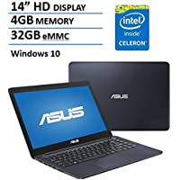 ASUS 14 HD EeeBook Laptop Computer PC, Intel Dual Core Celeron N3060 Up to 2.48Ghz Processor, 4GB Memory, 32GB eMMC Flash HDD, Bluetooth, WIFI, USB 3.0, VGA, HDMI, Webcam, Windows 10 Home, Dark Blue