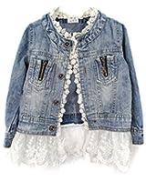 Giacca di Jeans Bambina, Ragazze Moda Denim Giacca Manica Lunga Cappotto Con Orlo Di Pizzo Casuale Capispalla, 2-10 anni