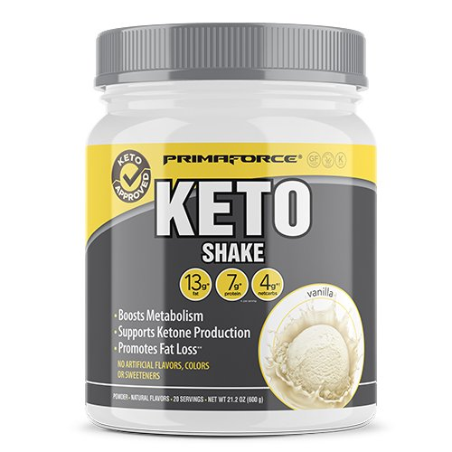 (PrimaForce KetoShake – Keto MCT Meal Replacement – Curbs Appetite / SupportsWeight Loss / Enhances Ketosis – Vanilla, 20 Servings)