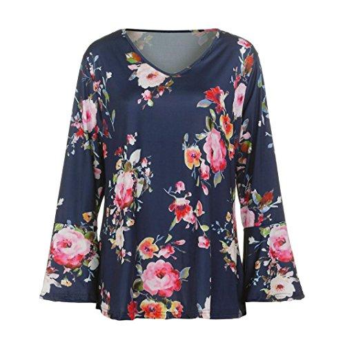 Blouse Manches Sexy Col en V Femme Haut Shirt Sexy Floral Classique Internet Femme Tops T Casual Arc Chemise Polyester Longue Manches Lache Tunique Tops Bleu Chic Larges zA0dq