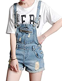 Yollmart Denim Jean Distressed Overall Short