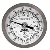 Winters TBM Series Stainless Steel 304 Dual Scale Bi-Metal Thermometer, 2-1/2'' Stem, 1/4'' NPT Fixed Center Back Mount Connection, 2'' Dial, 0-250 F/C Range