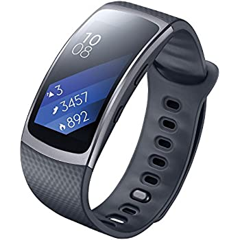 SAMSUNG Gear Fit2 SM-R360 Sports Band Smartwatch / iPhone Compatible [Asia Version] (Black - Large)