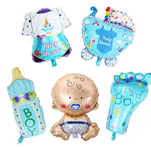 LAttLiv Mylar Balloons 5 Pcs Set Baby Shower Decorations For Boy With 100 Free Spot Glue ()