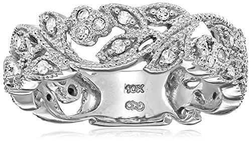 10k White Gold White Diamond Ring (1/4 cttw, H-I Color, I3 Clarity), Size (Pave Filigree Ring)