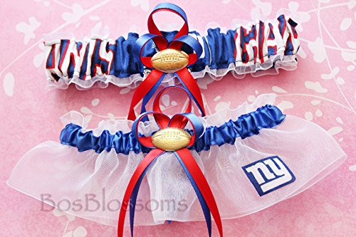 Customizable - New York NY Giants fabric handmade into bridal prom white organza wedding garter set with football charm by BOYX Designs
