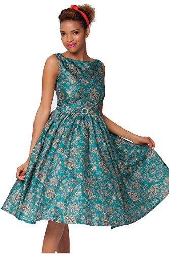 Sexyher Classy Vintage Audrey Hepburn Style 1950's Paisley Swing Evening Dress - RBJ1505(Bi-Color,US16)