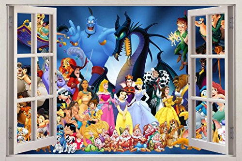 Disney Princess Decals (Disney Characters Princess 3D Window View Decal WALL STICKER Decor Art Mural H63, Large)