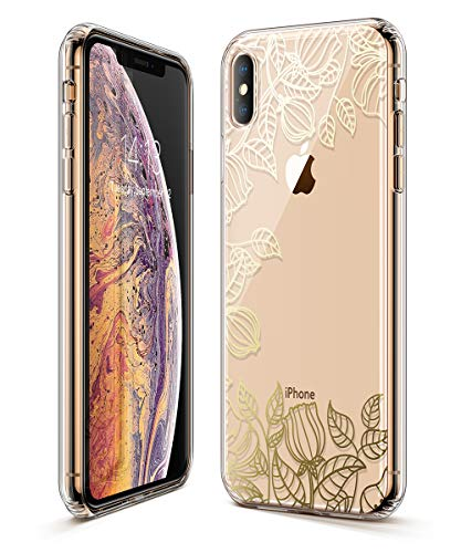 GVIEWIN Trend Case Compatible for iPhone Xs/X, Hard Back Cover + Soft TPU Bumper Edge with Shining Pattern Design for iPhone 10s/10 5.8