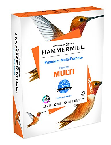 Hammermill Paper, Premium Multi-Purpose Poly Wrap, 24lb, 8.5 x 11, Letter, 97 Bright, 500 Sheets/1 Ream (105810) Made In The USA High Quality Printer Paper