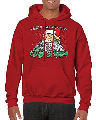 Santa Claus Big Poppa Hooded Sweatshirt, SpiritForged Apparel, Red Medium