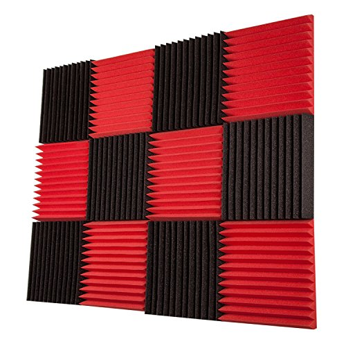 12 Pack- Red / Charcoal Acoustic Panels Studio Foam Wedges 2