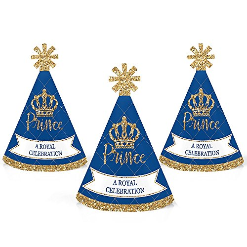 Royal Prince Charming - Mini Cone Baby Shower or Birthday Party Hats - Small Little Party Hats - Set of 10 -