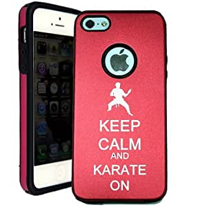SudysAccessories Keep Calm And Karate On iPhone 5 Case iPhone 5G Case - MetalTouch Red Aluminium Shell With Silicone Inner Protective Designer Case