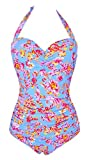 ebuddy 50s Elegant Inspired Retro Vintage One Piece Pin up Monokinis Swimsuit (XXL (US10-12), Small Flower)