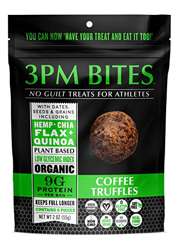 3PM BITES TRUFFLES - USDA Organic, Plant Based, Vegan, Paleo, Non-GMO, No Added Sugar, Superfoods and Grains - Great tasting on the go snack treats for everyone (Coffee 6)