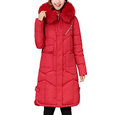 AOJIAN Women Winter Casual Thicker Slim Down Lammy Jacket Long Coat Overcoat Patchwork Outwear (Red