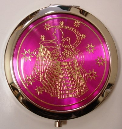 Purse Handbag Double Compact Cosmetic Mirror - Girl - Hot Pink