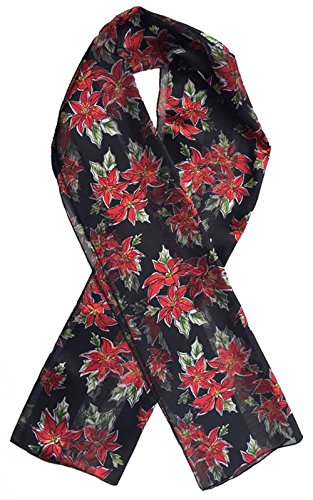 Christmas Scarf - Christmas Candycane, Poinsettia w/ Gift Box By Crown (Poinsettia Black)