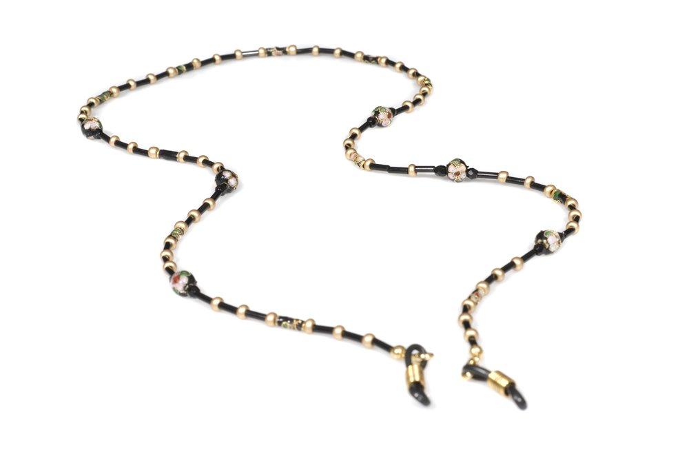 PuntaRocks Women's Midnight Beaded Eyeglass Chain Black