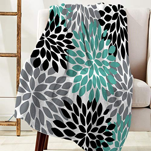 - SODIKA Flannel Fleece Throw Blanket, Microfiber Decorative Luxury Lightweight Cozy Couch Bed Ultra Comfort Soft Travel Use,Multicolor Dahlia Pinnata Flower Customized Teal,Black,Grey 50