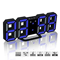 LED Digital Alarm Clock For Desk / Shelf / Tabletop, Modern Home Decoration 3D Wall Clock, Easy To Read at Night, Loud Alarm and Snooze, Big Digit Display (Black Frame, Blue Light)