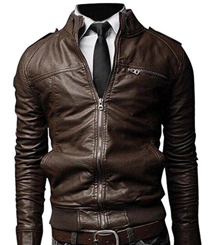 Zip Front Leather Coat - 3