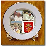 3dRose cp_107181_1 Pope Benedict XVI and The Coats of Arms of The Holy See Collage-Porcelain Plate, 8-Inch