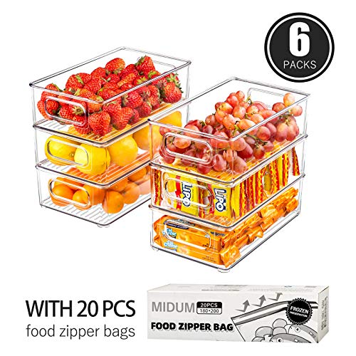 Refrigerator Organizer Bins, 6 Pack Clear Plastic Food Storage Bins for Freezer, Cabinet, Countertops, Cupboard, Kitchen Pantry Organization, BPA Free, 10\