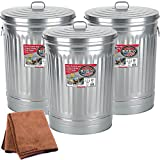 Behrens 1270 31-Gallon Trash Can with Lid, 3-Pack with Cleaning Cloth