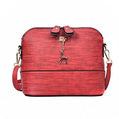 coquille Bandoulière de Paquets femmes Sac ornements métal zycShang en avec Rouge sacs Sac Sac Shell à cuir de occasionnels des bandoulière en Petits Sac un Femmes Vintage élégantes à FqACwPxH