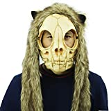 Cat Face with Hood Skeleton Mask Cosplay Costume Halloween Party Prop