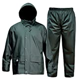 FWG Men's Rain Suit Commercial Fishing Foul Weather Gear Heavy Duty Workwear Waterproof Jacket with Pants Consealed Hood 3 Pieces Breathable Vented Back .Dark Green
