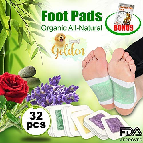 Foot Pads by GOLDEN | 32 Pack Premium Foot Patches | 100% Organic | Bonus 5 Pain Relief Patches | Reflexology | Circulation and Sleep Aid | All Natural Pain and Stress Relief Aid