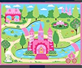 HUAHOO Pink Girls Bedroom Rugs Cartoon Castle Kids Rug Bedroom Floor Rugs Nylon Cartoon Kids Living Room Carpet (130x190cm(51''x75''))
