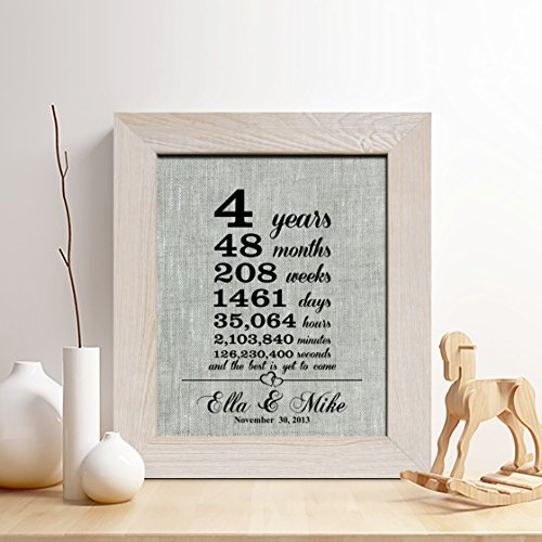 Personalized 4th Linen Anniversary Gift for Him or Her,4 Yea