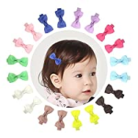 Ruyaa 10 Pairs 2  Baby Girls Tiny Hair Bows Alligator Clips for Toddlers Infants Kids Pigtails Barrettes